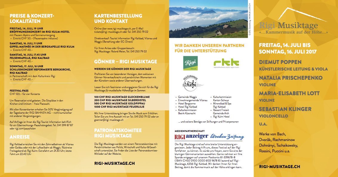 Rigi Musiktage 2017 Flyer Outside